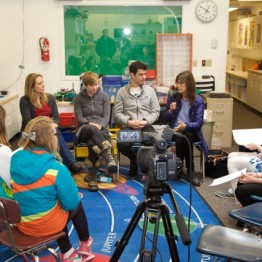 "Filmmakers Allison Shigo, Annie Eastman, Jeremy Teicher (""Tall as the Baobab Tree"") and Freida Lee Mock visit the 5th Grade Video class at Hemingway Elementary School in Ketchum"