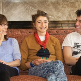 Filmmakers Freida Lee Mock, Alexi Pappas and Jeremy Teicher share a joke at a press conference