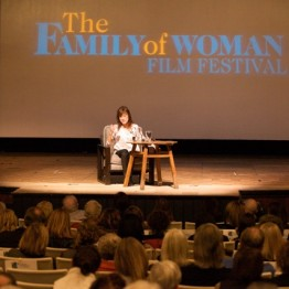 "Filmmaker Freida Lee Mock answers questions at the Sun Valley Opera House after the screening of her film, ""Anita"""