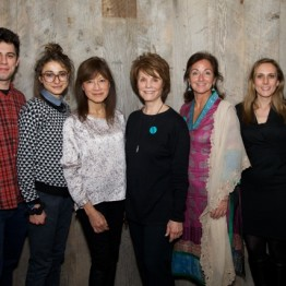 Jeremy Teicher , Alexi Pappas, Freida Lee Mock, Peggy Elliott Goldwyn, Meagan Carnahan Fallone, Allison Shigo and Stephanie Freid-Perenchio  at a donor reception at SFP Studio