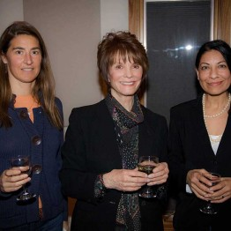 Leslie Manookian, Peggy Goldwyn, and filmmaker Nisha Pahuja, at opening night reception.