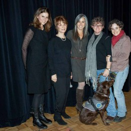 "Producer Amy Zeiring, Peggy Goldwyn, Stephanie Freid-Perenchio, and Trina and Amy Lou McDonald pose for the press after the screening of ""The Invisible War"""